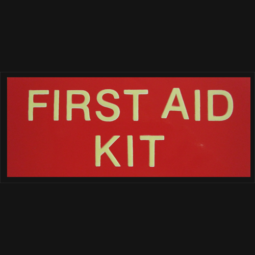 Luminous First Aid Kit Label 163mm x 67mm