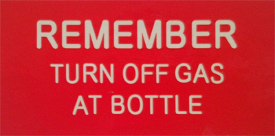 Luminous Remember Turn Off Gas Label  148mm X 75mm